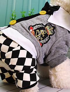 abordables -Chien Combinaison-pantalon Vêtements pour Chien Décontracté / Quotidien Tartan Gris Costume Pour les animaux domestiques