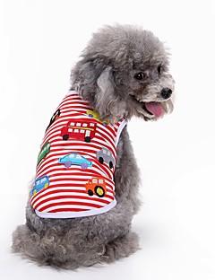 billiga Hundkläder-Hund T-shirt Väst Hundkläder Geometrisk Röd Cotton Kostym För husdjur Herr Dam Fest Ledigt/vardag Födelsedag Mode Sport Bröllop
