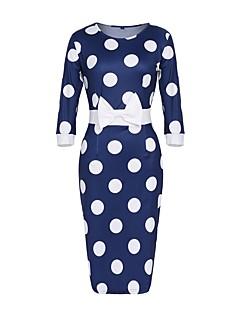 Naiset Tuppi Mekko Vintage Yksinkertainen Plus-koko,Polka Dot Pyöreä kaula-aukko Polvipituinen 3/4 hiha Polyesteri Spandex Kesä Syksy