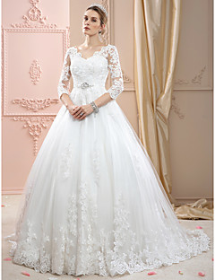 Ball Gown V-neck Court Train Lace Tulle Wedding Dress with Appliques Crystal Detailing by LAN TING BRIDE®