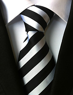 Men's Polyster Neck Tie,Striped Striped All Seasons White