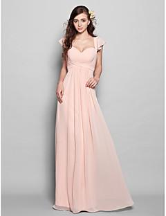 Χαμηλού Κόστους Δοκιμάστε το στο σπίτι-Δείγμα προϊόντος Ίσια Γραμμή Λουριά Μακρύ Σιφόν Φόρεμα Παρανύμφων με Ζώνη / Κορδέλα Πλισέ με LAN TING BRIDE®