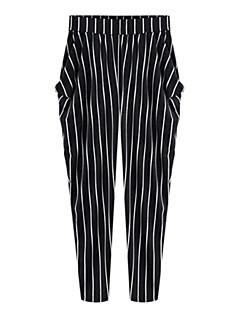 レディース ストリートファッション ハイライズ スリム マイクロエラスティック チノパン パンツ ストライプ
