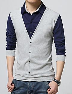 Bomull Akryl Medium Langermet,Skjortekrage Polo Fargeblokk Vår Høst Enkel Plusstørrelser Arbeid Herre