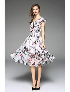 Χαμηλού Κόστους Φορέματα Μεγάλα Μεγέθη-Γυναικείο Εξόδου Δουλειά Παραλία Βίντατζ Χαριτωμένο Εκλεπτυσμένο Θήκη Φόρεμα,Στάμπα Κοντομάνικο Λαιμόκοψη V Μίντι Άλλα Άνοιξη Καλοκαίρι