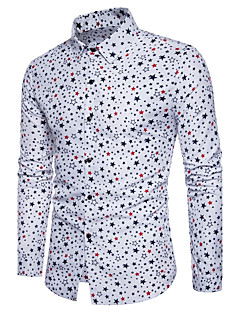 Bomull Polyester Medium Langermet,Klassisk krage Skjorte Polkadotter Geometrisk Alle sesonger Enkel Gatemote Aktiv Ut på byen