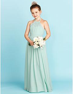 billige Bryllupsbutikken-A-linje Prinsesse Grime Gulvlang Chiffon Junior brudepikekjole med Belte / bånd Plissert av LAN TING BRIDE®