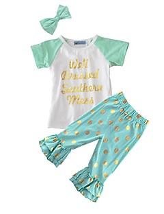 billige Tøjsæt til piger-Pige Tøjsæt Prikker, Bomuld Sommer Kortærmet Punkt Lysegrøn