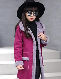 Girls' Solid Patchwork Jacket & Coat,PU Rayon Polyester Winter Fall Long Sleeve Red Blushing Pink Purple