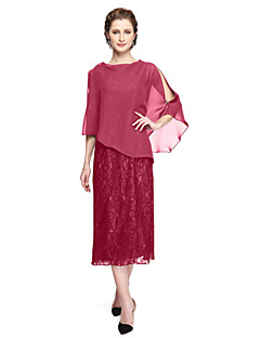cheap Mother of the Bride Dresses-A-Line Jewel Neck Tea Length Chiffon Lace Mother of the Bride Dress with Appliques Pleats by LAN TING BRIDE®