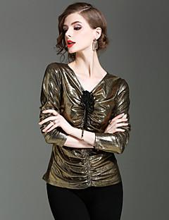 여성 솔리드 V 넥 긴 소매 티셔츠,심플 데이트 캐쥬얼/데일리 나일론 스판덱스 가을 겨울