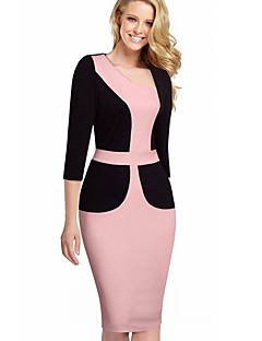 Women's Work Plus Size Bodycon Sheath Dress,Color Block Patchwork Round Neck Knee-length 3/4 Length Sleeves Cotton Polyester Spandex