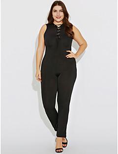 billige Jumpsuits og sparkebukser til damer-Dame Store størrelser Kjeledresser - Ensfarget, Uthult Kryss