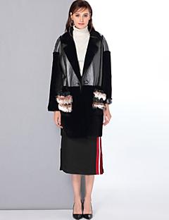 Χαμηλού Κόστους Women's Wool Coats-Γυναικεία Κανονικό Γούνινο παλτό Καθημερινά Εξόδου Απλός Βίντατζ Χαριτωμένο Καθημερινό Μονόχρωμο Χειμώνας Μαλλί