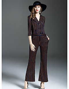 ANGEL Women's Going out Street chic Striped Shirt Collar JumpsuitsSlim Long Sleeve Fall Polyester
