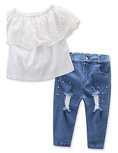 preiswerte -Mädchen Sets einfarbig Baumwolle Polyester Frühling Sommer Kurzarm Kleidungs Set