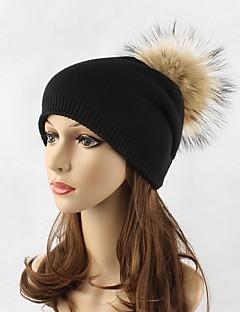 女性 冬 ハット ニット ウール アクリル ラクーン 純色 フロッピーハット スキー帽 純色