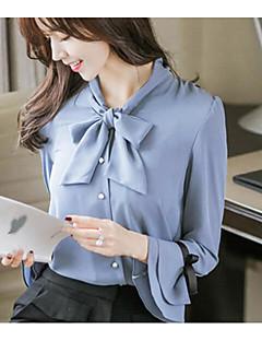 Damen Solide Einfach Ausgehen Lässig/Alltäglich Bluse,Rundhalsausschnitt Langarm Polyester