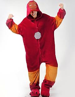 billige Kigurumi-Kigurumi-pysjamas med tøfler Superhelter Tegneserie Onesie-pysjamas Kostume Flannelstoff Rød Cosplay Til Pysjamas med dyremotiv Tegnefilm