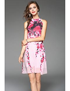 Damen Chiffon Kleid-Ausgehen Street Schick Solide Halter Maxi Ärmellos Polyester Sommer Mittlere Hüfthöhe Unelastisch Dünn