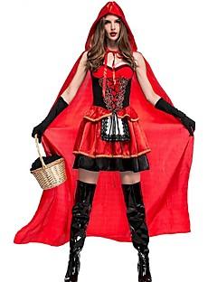 billige Halloweenkostymer-Rødhette Cosplay Kostumer Jul Halloween Karneval Oktoberfest Nytt År Festival / høytid Halloween-kostymer Rød Helfarge Mote