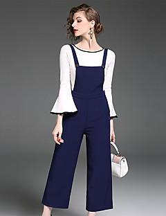 Damen Solide Einfach Lässig/Alltäglich Arbeit T-Shirt-Ärmel Hose Anzüge,Rundhalsausschnitt Herbst Lange Ärmel