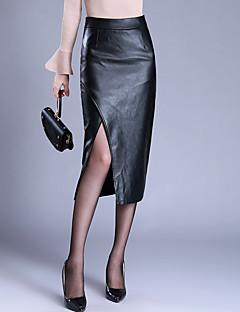 Women's Casual/Daily Midi Skirts,Simple Bodycon Split Solid Fall Winter