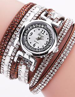 Women's Fashion Watch Simulated Diamond Watch Bracelet Watch Chinese Quartz Imitation Diamond PU Band Bohemian Elegant Casual Black White