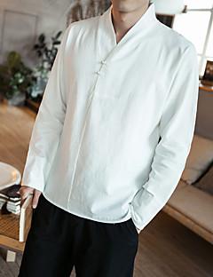お買い得  アジアン気分-男性用 プラスサイズ シャツ アジアン・エスニック ソリッド コットン / 長袖