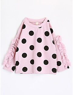 cheap Girls' Clothing-Girls' Polka Dots Tee,Cotton Fall Long Sleeve Blushing Pink
