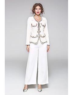 Damen Solide Geometrisch Street Schick Ausgehen Lässig/Alltäglich Mantel,Rundhalsausschnitt Frühling Herbst Lange Ärmel Standard Polyester