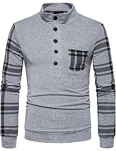 Herren Gestreift Street Schick Lässig/Alltäglich T-shirt,Ständer Langarm Polyester