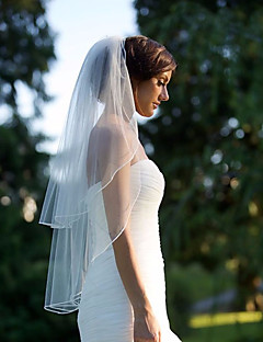 Two-tier Pencil Edge Wedding Veil Blusher Veils Fingertip Veils With Ruched Tulle