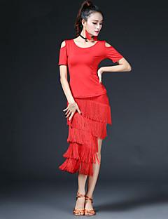 Недорогие -мы будем латинскими танцами наряды женского исполнения модальные спандекс кисточки (ов) 2 штуки с коротким рукавом упали юбки tops