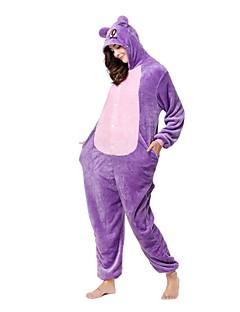 billige Kigurumi-Kigurumi-pysjamas Ape Kat Onesie-pysjamas Kostume Flanell Fleece Lilla Cosplay Til Pysjamas med dyremotiv Tegnefilm Halloween Festival /