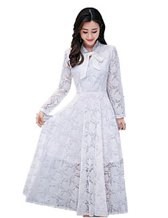 Kadın Günlük/Sade Sade Çan Elbise Solid,Uzun Kollu Dik Yaka Maksi Pamuklu Sonbahar Normal Bel Esnemez Orta