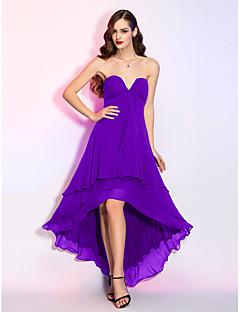 billiga Cocktailklänningar-A-linje V-slits Asymmetrisk Georgette Bal / Formell kväll Klänning med Draperad / Veckad av TS Couture® / Kort och lång