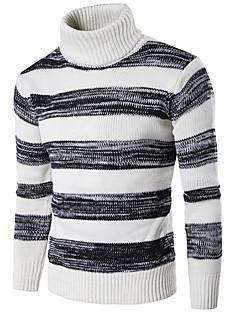 billige -Normal Pullover Ut på byen Fritid/hverdag Gatemote Herre,Stripet Rullekrage Langermet Bomull Spandex Høst Vinter Tykk Elastisk