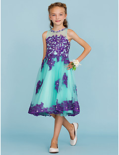 cheap Junior Bridesmaid Dresses-A-Line Princess Crew Neck Knee Length Lace Tulle Junior Bridesmaid Dress with Appliques Crystal Detailing by LAN TING BRIDE®