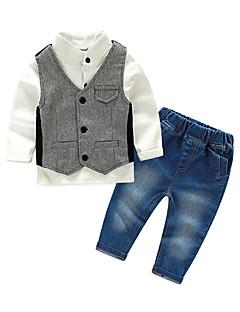 billige Tøjsæt til drenge-Drenge Tøjsæt Ensfarvet, Bomuld Efterår Langærmet Pænt tøj Hvid