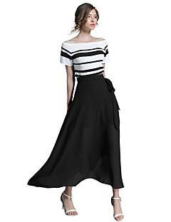 여성 A 라인 칼집 드레스 데이트 캐쥬얼/데일리 심플 스트리트 쉬크 줄무늬,보트넥 맥시 짧은 소매 면 폴리에스테르 여름 가을 중간 밑위 약간의 신축성 얇음