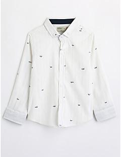 billige Overdele til drenge-Drenge Skjorte Bomuld Efterår Langærmet Hvid