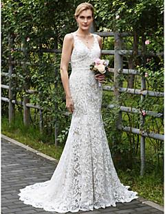 billiga Plusstorlek brudklänningar-Trumpet / sjöjungfru V-hals Hovsläp Heltäckande spets Bröllopsklänningar tillverkade med Applikationsbroderi av LAN TING BRIDE®
