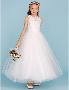 cheap Junior Bridesmaid Dresses-A-Line Princess Crew Neck Ankle Length Lace Tulle Junior Bridesmaid Dress with Sash / Ribbon by LAN TING BRIDE®
