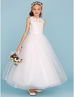 A-Linie Princess Tričkový Po kotníky Krajka Tyl Šaty pro malou družičku s Šerpa / Stuha podle LAN TING BRIDE®