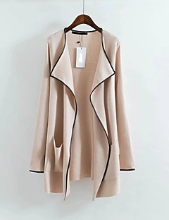Women's Going out Casual/Daily Simple Cute Active Spring Fall Trench Coat,Solid Peaked Lapel Long Sleeve Long Cotton