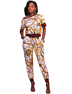 Women's Running Casual/Daily Simple Summer T-shirt Pant Suits,Print Round Neck Short Sleeve Stretchy