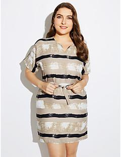 billige Minikjoler-Dame Plusstørrelser A-linje Kjole - Stribet Mini V-hals