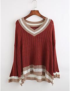baratos Suéteres de Mulher-Mulheres Casual Manga Longa Pulôver - Listrado, Frufru / Decote em V Profundo / Decote em V Profundo / Outono / Inverno