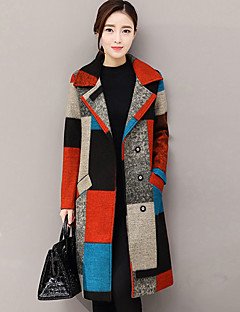 Women's Going out Street chic Winter Fall Coat,Print Shirt Collar Long Sleeve Regular Cashmere Polyester